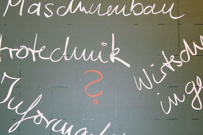 Courses of study written in chalk on a chalkboard